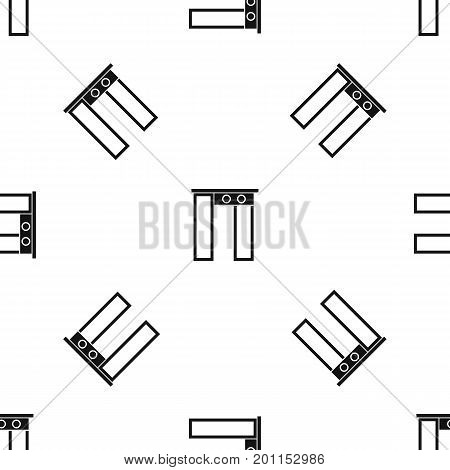 Security gate at entrance of airport pattern repeat seamless in black color for any design. Vector geometric illustration