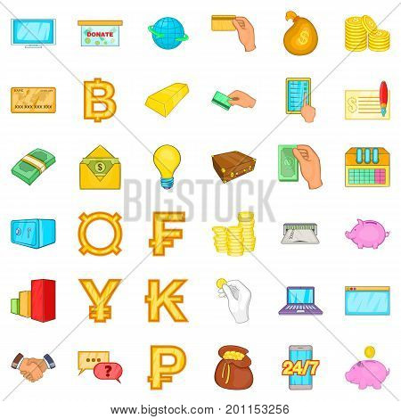 Safe icons set. Cartoon style of 36 safe vector icons for web isolated on white background