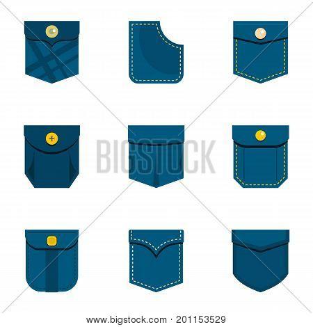 Mini pocket icon set. Flat set of 9 mini pocket vector icons for web isolated on white background