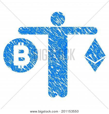 Grunge Person Compare Cryptocurrency icon with grunge design and dirty texture. Unclean vector blue pictogram for rubber seal stamp imitations and watermarks. Draft emblem symbol.