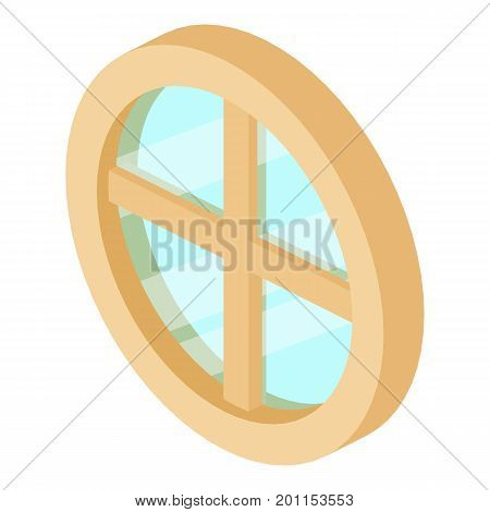 Round window frame icon. Isometric illustration of round window frame vector icon for web