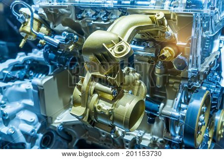 Modern powerful car engine section