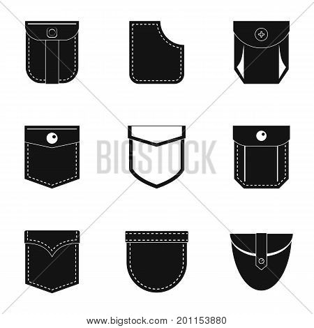 Cotton pocket icon set. Simple set of 9 cotton pocket vector icons for web isolated on white background
