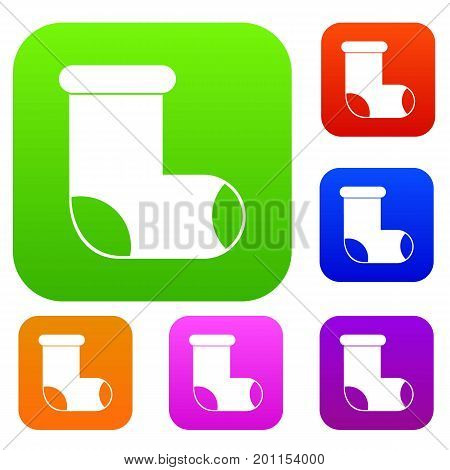 Felt boot set icon in different colors isolated vector illustration. Premium collection