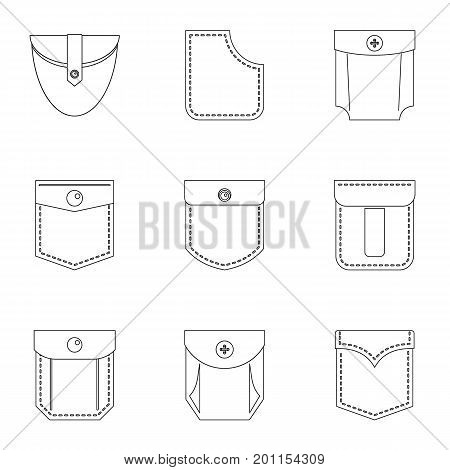 Fashion pocket form icon set. Outline set of 9 fashion pocket form vector icons for web isolated on white background