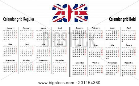 Calendar grid for 2018 with United Kingdom flag colors on 2018 digits. Mondays first. Regular and bold digits grid. For business and office needs web design presentations and prints. Vector illustration
