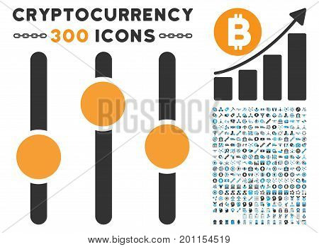 Equalizer icon with 300 blockchain, bitcoin, ethereum, smart contract graphic icons. Vector icon set style is flat iconic symbols.