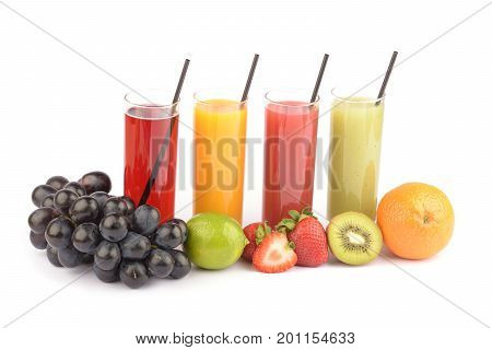 Fresh fruit juices on white. Juice in glass, natural food.
