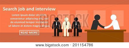 Search job and interview banner horizontal concept. Flat illustration of search job and interview banner horizontal vector concept for web