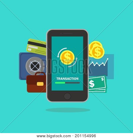 mobile banking vector illustration for money transaction, technology, business and mobile payment. Smartphone on the blue background with making transaction on the screen.