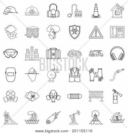 Volcano icons set. Outline style of 36 volcano vector icons for web isolated on white background