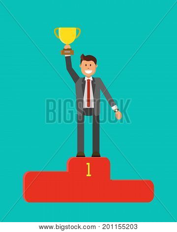 Winner Concept. Business award flat vector illustration. Businessman in suit is standing on pedestal, holding a winner cup over his head.