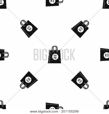 Duty free shopping bag pattern repeat seamless in black color for any design. Vector geometric illustration