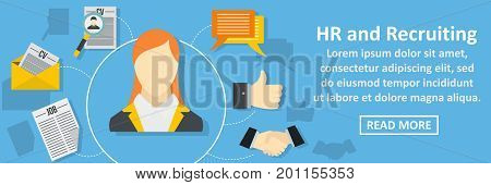 Hr and recruiting banner horizontal concept. Flat illustration of hr and recruiting banner horizontal vector concept for web