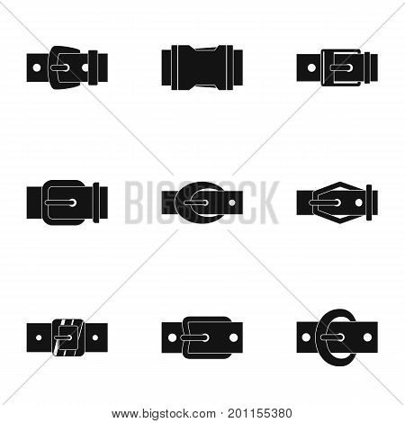 Belt buckle accessory icon set. Simple set of 9 belt buckle accessory vector icons for web isolated on white background