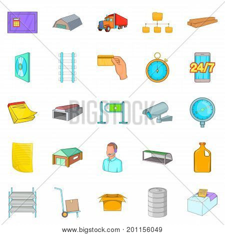 Goods storage icons set. Cartoon set of 25 goods storage vector icons for web isolated on white background