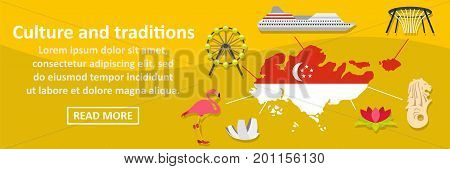 Culture and traditions singapore banner horizontal concept. Flat illustration of culture and traditions singapore banner horizontal vector concept for web