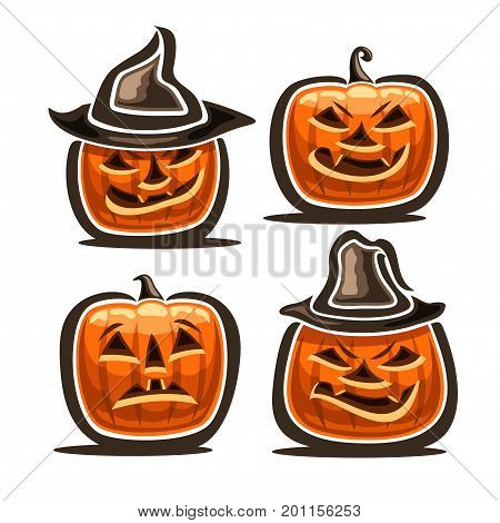 Vector set of Halloween Pumpkins: 4 orange Jack-o-Lantern with different characters in hats, icons of halloween symbols with evil smile and fright emotion, fear halloween pumpkin lantern jack on white