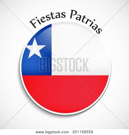 illustration of button in Chile flag background with Fiestas Patrias text on the occasion of Chile National Holidays. Fiestas Patrias is a Spanish phrase meaning