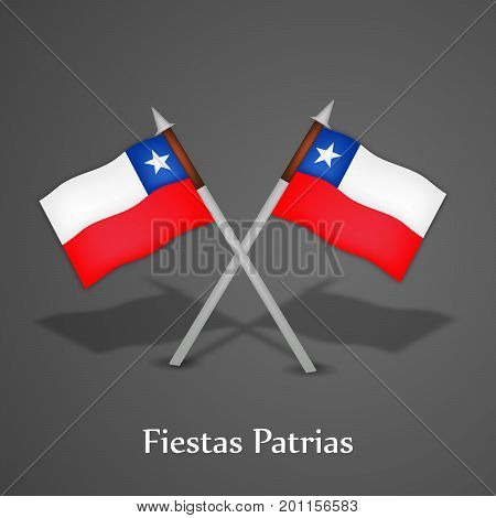 illustration of Chile flags with Fiestas Patrias text on the occasion of Chile National Holidays. Fiestas Patrias is a Spanish phrase meaning