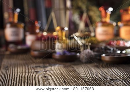 Chinese medicine concept. Macro shot. Wooden table.