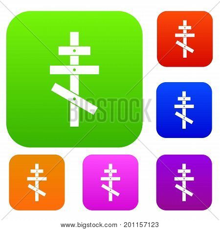 Orthodox cross set icon in different colors isolated vector illustration. Premium collection
