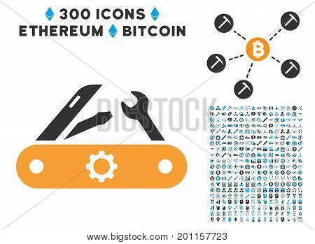 Swiss Knife pictograph with 300 blockchain, cryptocurrency, ethereum, smart contract design elements. Vector icon set style is flat iconic symbols.
