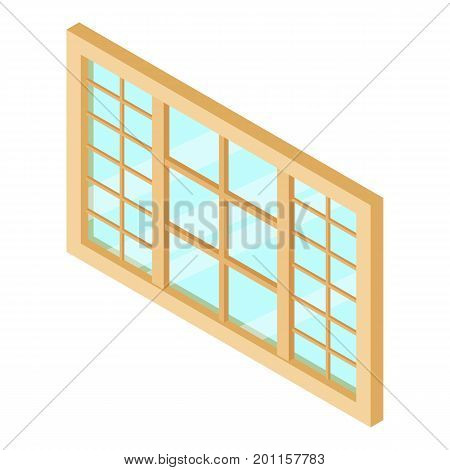 Wood window frame icon. Isometric illustration of wood window frame vector icon for web