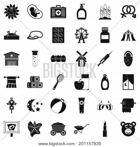 Bathing icons set. Simple style of 36 bathing vector icons for web isolated on white background