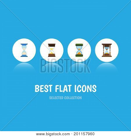 Flat Icon Hourglass Set Of Waiting, Hourglass, Sand Timer Vector Objects