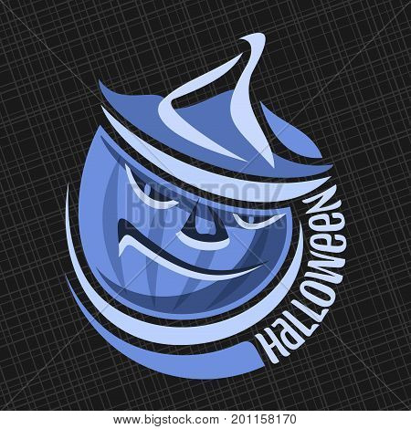 Vector logo for Halloween Pumpkin: blue moonlit on Jack-o-Lantern with evil smile in hat, round icon of halloween symbol, label of pumpkin lantern jack with text halloween on black abstract background