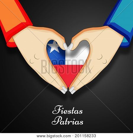 illustration of hands and heart design in Chile flag background with Fiestas Patrias text on the occasion of Chile National Holidays. Fiestas Patrias is a Spanish phrase meaning