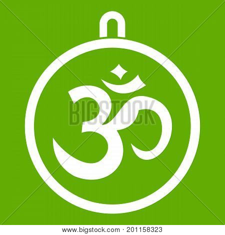Indian coin icon white isolated on green background. Vector illustration