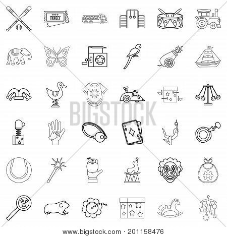Playing icons set. Outline style of 36 playing vector icons for web isolated on white background