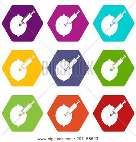 GMO lemon with syringe icon set many color hexahedron isolated on white vector illustration poster