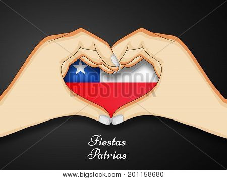 illustration of hand and  heart design in Chile flag background with Fiestas Patrias text on the occasion of Chile National Holidays. Fiestas Patrias is a Spanish phrase meaning