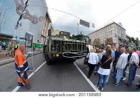 Celebration of the Great Victory near Illovaysk.Downtown of Kiev.Parade.Ukrainian army S-300 Gainful surface to air missile mobile missile system.August 22, 2017 Kiev, Ukraine