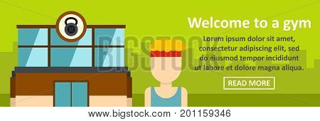 Welcome to a gym banner horizontal concept. Flat illustration of welcome to a gym banner horizontal vector concept for web