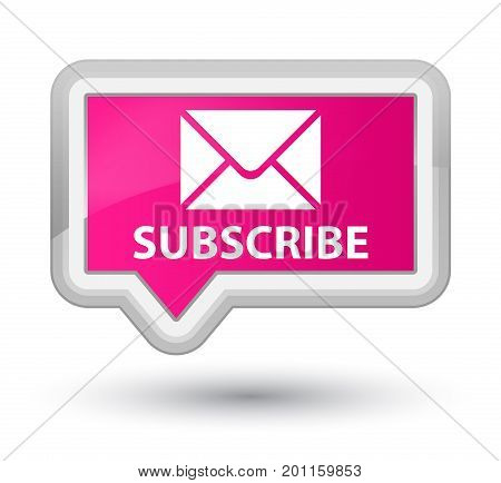 Subscribe (email Icon) Prime Pink Banner Button