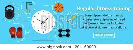 Regular fitness training banner horizontal concept. Flat illustration of regular fitness training banner horizontal vector concept for web