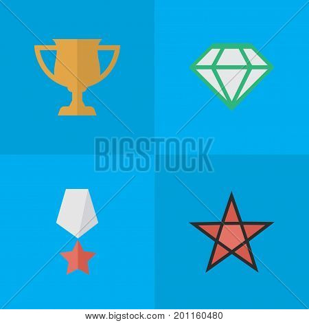 Elements Award, First, Premium And Other Synonyms Diamond, Cub And Award.  Vector Illustration Set Of Simple Achievement Icons.
