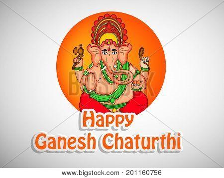 illustration of hindu lord Ganesh with happy Ganesh Chaturthi text on the occasion of hindu festival Ganesh Chaturthi
