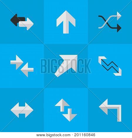 Elements Arrow, Import, Upwards And Other Synonyms Up, Upward And Direction.  Vector Illustration Set Of Simple Pointer Icons.