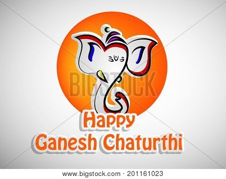 illustration of face of hindu lord Ganesh with happy Ganesh Chaturthi text on the occasion of hindu festival Ganesh Chaturthi
