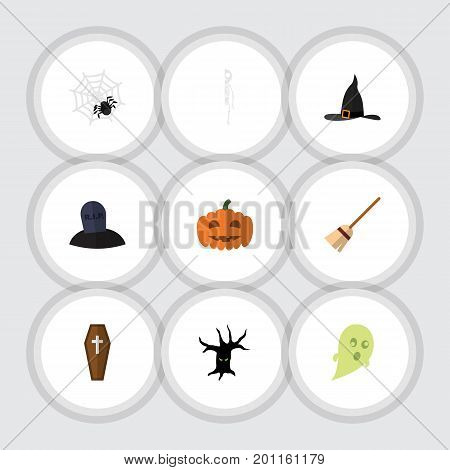 Flat Icon Celebrate Set Of Gourd, Skeleton, Casket And Other Vector Objects