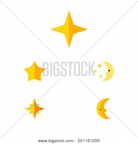 Flat Icon Night Set Of Nighttime, Asterisk, Moon And Other Vector Objects