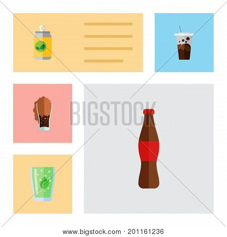 Flat Icon Drink Set Of Juice, Carbonated, Cup And Other Vector Objects