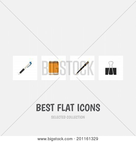 Flat Icon Equipment Set Of Nib Pen, Paper Clip, Notepaper And Other Vector Objects