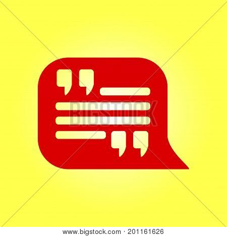 Quote icon. Quotation mark in speech bubble symbol. Direct oration sign.