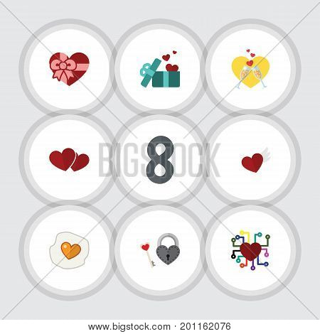Flat Icon Heart Set Of Wings, Celebration, Soul And Other Vector Objects